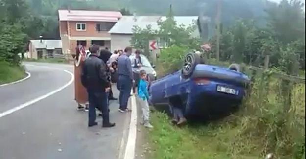 Freni Patlayan Otomobil Takla Attı.