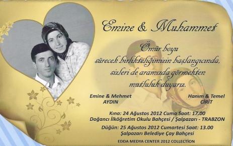 Emine ile Muhammet'in düğün davetiyesi