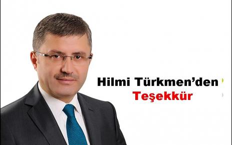 Hilmi Türkmen'den teşekkür