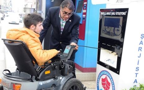 Meydan Parkı'na engelli aracı şarj istasyonu kuruldu