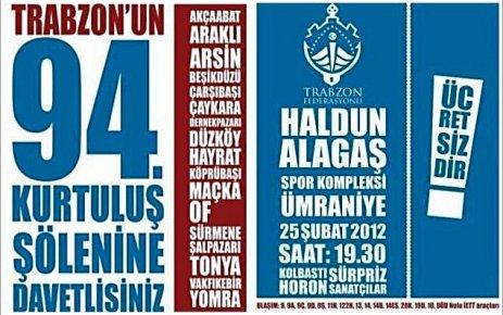 Trabzon'un 94. Kurtuluş Yıldönümü Şöleni